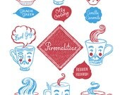 Personaliteas Tea Towel - Faces Teacups Mugs Tea Varieties Illustrated Screen printed Retro Kitchen Gift
