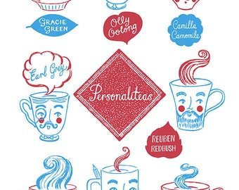 Personaliteas Tea Towel - Faces Teacups Mugs Tea Varieties Illustrated Screen printed Retro Kitchen Gift