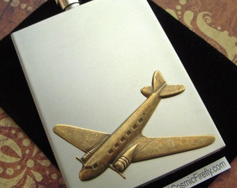 Airplane Flask Industrial Steampunk Vintage Inspired Rectangular Square Edges Silver Stainless Steel & Brass
