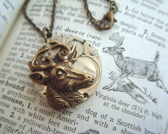 Steampunk Necklace Brass Deer Vintage Watch Movement Round Pendant Mixed Metals Rustic Woodland Assemblage Jewelry