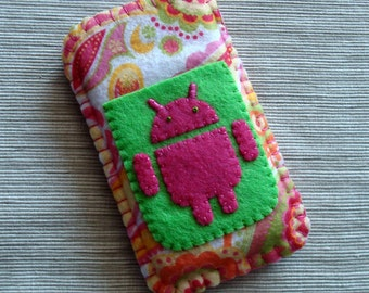 Android Phone Case with Pink and Green Paisley Felt LIMITED EDITION