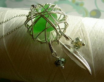 Dream Catcher - apple green silver necklace / dream catcher / green necklace / sea glass necklace / eco jewelry / feather necklace