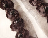 Satin Rosette Trim in BLACK with Hand Sewn Matching Pearl Beads- 1 yard