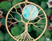 Solid 18k Gold Tree of Life Pendant with Gorgeous Rainbow Moonstone by Ethora