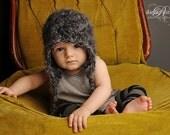 12-24 month baby boy hat black and grey fuzzy beanie