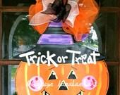 Halloween Pumpkin Door Hanger - Bronwyn Hanahan Art