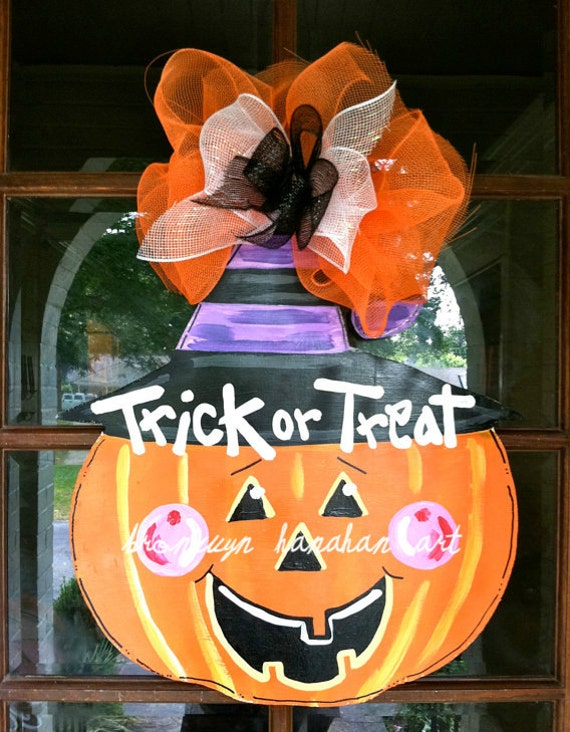 Decorating Ideas > Halloween Pumpkin Door Hanger Bronwyn By BronwynHanahanArt ~ 160801_Halloween Door Tricks
