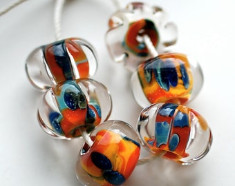 Sale Boro Lampwork beads colorful bead set of 6 handmade brilliant crystal clear beads boro beads zanzibar set of 6 unique beads paulbead