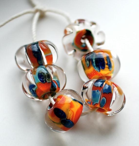 Sale Boro Lampwork beads colorful bead set of 6 handmade brilliant crystal clear beads boro beads zanzibar set of 6 unique beads paulbead