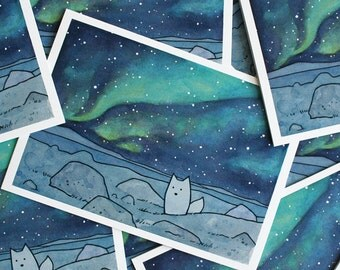Northern Lights Card Set with Arctic Fox, Christmas holiday stationery