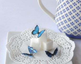 Wedding Cake Topper Itsy Bitsy Mini Edible Butterflies - Assorted Blue set of 48- for Cake Decorating and Cupcake Toppers