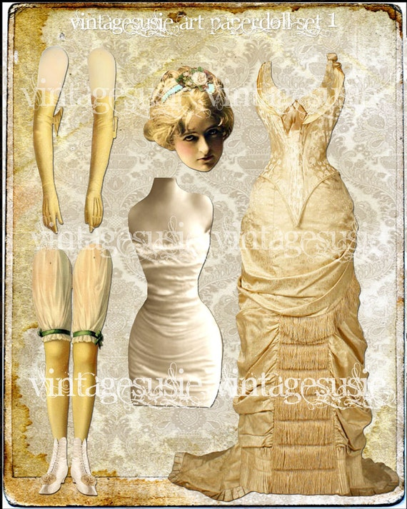 Vintage Victorian Art Paper Doll Collage Sheet 'well behaved women rarely make history' Digital Download