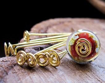 Artisan Swirl Head Pins - Golden Brass Fancy Headpins 20 gauge set Bead Findings - Gold Eye Pins Set - Earrings components - gold headpins