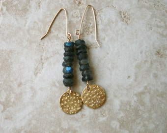 Labradorite earrings, Blue gray stone jewelery,  vermeil coin,  blue stone jewelry, beaded earrings, dangle long earrings