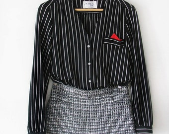 SALE Buttom Up Striped Blouse With Pocket Square Size S, M, L