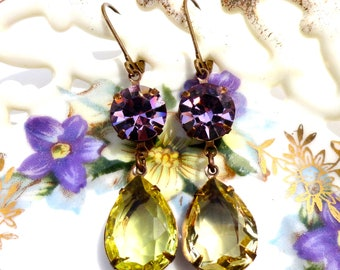 Amethyst Citrine Earrings Swarovski Crystals Spring Prom Old Hollywood Estate Style
