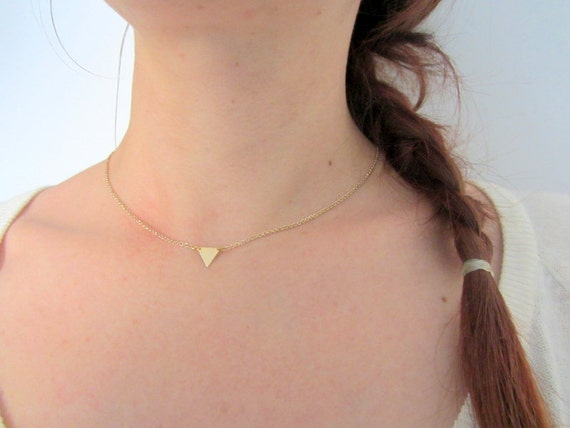 Gold Triangle Necklace in Brass, Simple Dainty Geometric choker Necklace 14k gold filled chain.