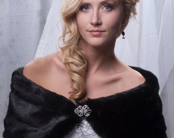 "8"" wide Custom faux fur wrap shawl Formal shrug Available in winter white, ivory, cream or black"