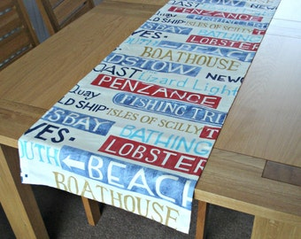 Table runner Cornwall blue red gold brown nautical seaside beach town 18 inches wide 77 inches long table runner