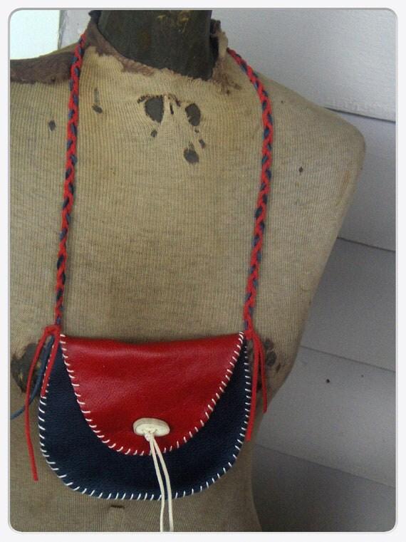 DEER CLAN. Genuine Leather Red Blue messenger purse Deer Antler Toggle braided strap handmade. native, medicine, money. pouch, beads. boho