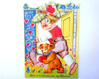 Vintage VALENTINE CARD - Antique 1920s Art Deco Valentine w/ Real METAL Chain - Child Leading Small Bear - Made in Germany