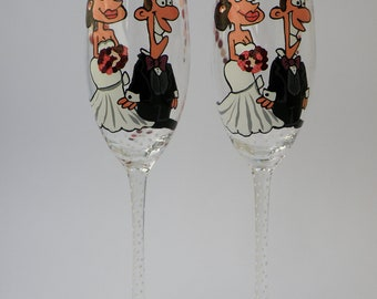 Hand painted wedding Toasting Flutes Personalized Champagne glasses cartoon Portraits