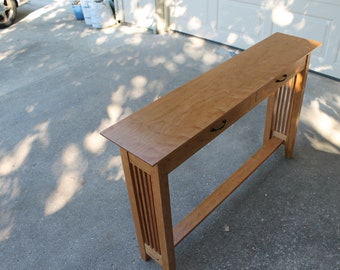 Mission hall table in solid cherry
