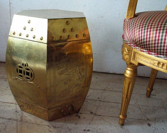 MOD-SALE! Hollywood Regency Brass Garden Stool Table , Mid Century Modern Chinoiserie Chinese Brass Garden Stool