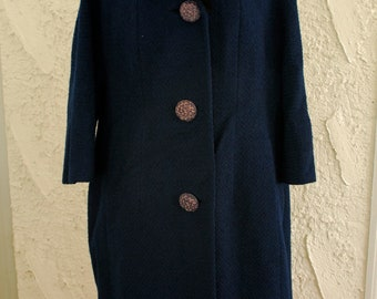 MOVING SALE Vintage 1960s Deep Blue Genuine Fur Collar Coat