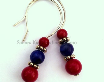 Patriotic Sterling Silver Coral and Lapis Earrings Custom Earrings Custom Made Red White Blue (check back for updated pictures)