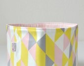 Organic Fabric Basket - Modern Geometric in Soft Gray, Yellow, Pink and White