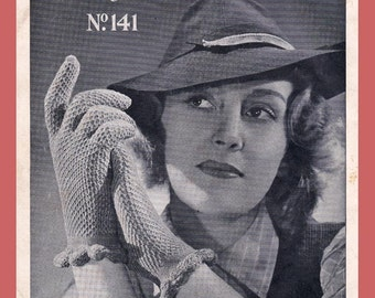 40s Gloves Knitting Patterns Booklet ORIGINAL Vintage 1940s Womens & Childrens Styles Patons 141  NOT PDF