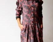 vintage 1970s dress / 70s floral shirt dress / Polished Up Floral Dress