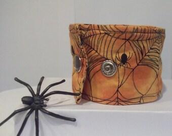 Halloween Spiderweb Fabric Cuff Bracelet Spooky Bracelet