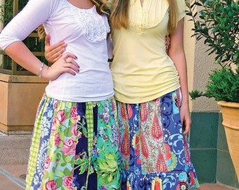 Pink Fig Sewing Pattern, Hippy Chick Stripework Skirts for Teens and Tweens, Sizes 10 to 16 years