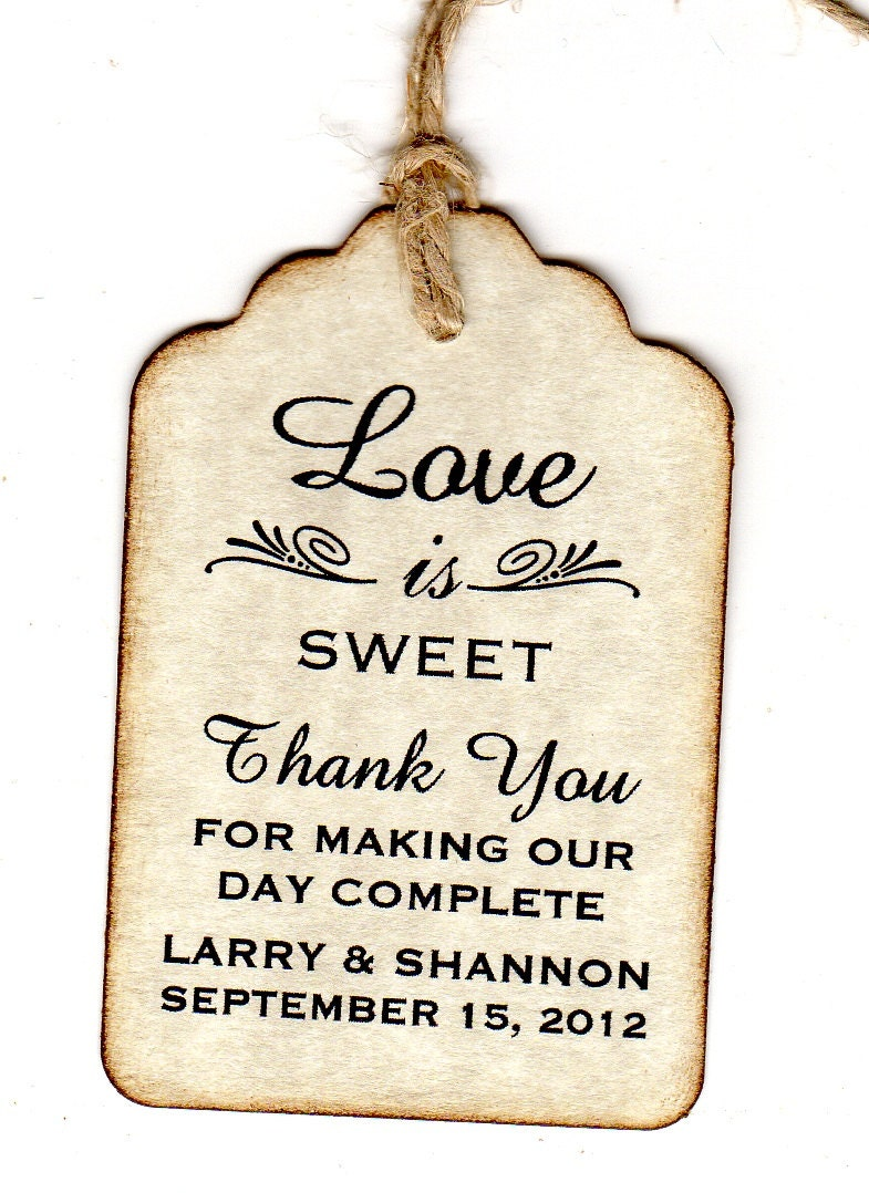 Thank You Wedding Gift Tags : 100 Wedding Favor Gift Tags Place Card Escort Tags Thank You