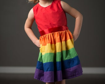 Rainbow Dress. 12 month 2t 3 t 4t. Made by Rugrat Design. Full twirly rainbow skirt. Lined bodice.