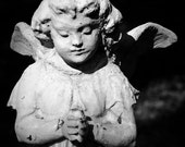 Angel - Cemetery Photo - Black and White Photo - Angel Wings - Tombstone - Little Angel -11 x 14 Print - Fine Art Photography - Gothic Art