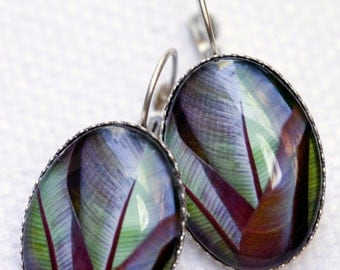Nature art jewelry, Photo art earrings, Tropical leaves , Woman gift under 25, Gift for nature lovers, Nature inspired jewelry