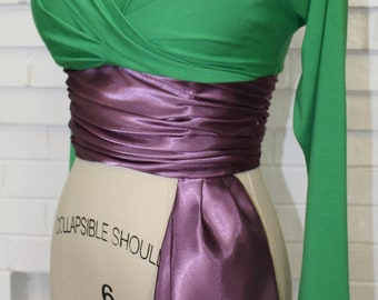 Lorelei Lee-Monroe-Green V-Neck Blouse with Cummerbund Midriff-Custom Made to Size