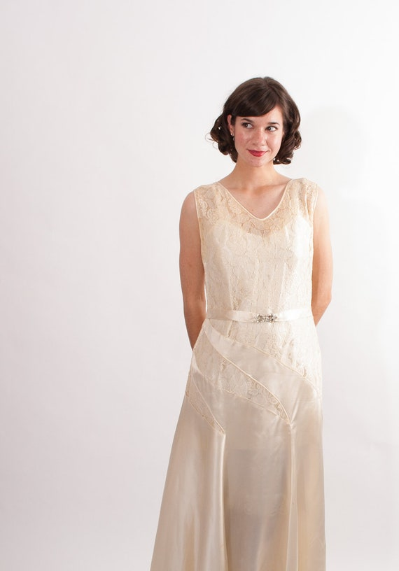 Vintage 1930s wedding dress 30s wedding gown candlelight for 30s style wedding dress