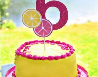 Lemonade Party Custom Age Number Cake Topper - Sweet Pink Lemonade Collection
