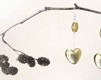 Olive Green Heart Earrings, Fancy Silver Leaf Lampwork Glass Earrings,  Sterling Silver, Nature Inspired Jewelry, Gift for woman
