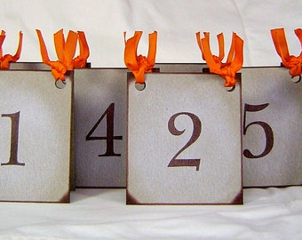 Leaf table numbers, rustic fall wedding decor, fall place cards, vintage inspired red orange and yellow table numbers, brown reception decor