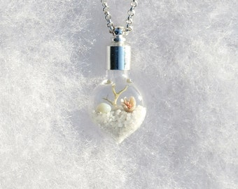 Heart Necklace, Wedding Jewelry, Bridal, Winter White, Sterling Silver Chain, Pendant on Chain