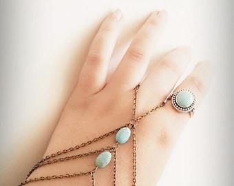 Slave Bracelet, Hand Bracelet, Bohemian Slave Bracelet, Gypsy Bracelet, Bohemian, Turquoise Bracelet, Hand Jewelry, Tribal, Harem Bracelet