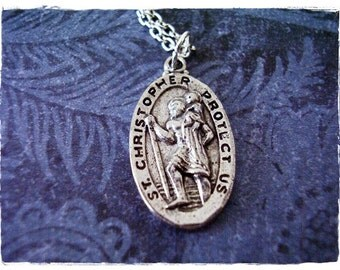 Silver Saint Christopher Medallion Necklace - Antique Pewter St Christopher Medallion Charm on a Silver Plated Cable Chain or Charm Only