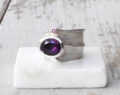 Ring - Amethyst and Ruby Sterling Silver Ring