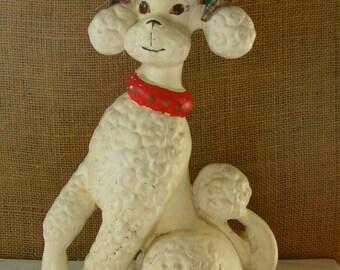 Vintage CERAMIC POODLE Standard French White French Poodle Ceramic Dog Statue Figurine