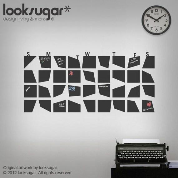 Chalkboard Calendar Wall Decal : Chalkboard wall calendar decal for your home